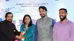 "(L-R) The Chairman Emeritus and Chief Mentor of the Public Relations Council of India (PRCI), M. B. Jayaram presenting the ""Champion of Champions"" Award to TAFE – Tractors and Farm Equipment Limited's Corporate Communications team – Ms. Sunitha Subramaniyan (Senior Deputy General Manager), Shivam A. Rai (Deputy Manager) and Lijo Thampy (Assistant Manager), for winning the highest number of awards (16 Awards) at the 10th PRCI – Global Communications Conclave."