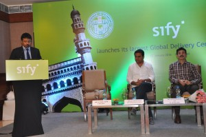 PHOTO CAPTION: (L-R) Mr. Kamal Nath, CEO, Sify Technologies Limited; Mr. K.T. Rama Rao, Minister of Panchayat Raj and IT, Government of Telangana; and Mr. Jayesh Ranjan IAS, IT Secretary, Government of Telangana