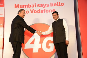 Sunil Sood, MD & CEO, Vodafone India and Honorable Chief Minister of Maharashtra, Shri Devendra Fadnavis at the launch press conference of Vodafone 4G in Mumbai today