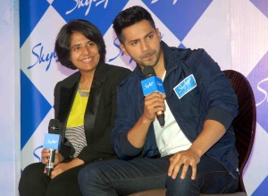 Mumbai Mar. 11 :- ' Skybags ', the youth bags brand from the house of India's leading luggage company, V I P  Industries announced the launch of its latest backpack collection. The campaign was unveiled by Bollywood heartthrob & Brand Ambassador Varun Dhawan at a press conference in Mumbai. In pic Radhika Piramal, Managing Director, V IP Industries.An artist performing.( pic by GPN )