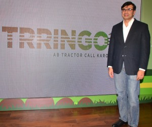 Mr. Rajesh Jejurikar, President and Chief Executive Farm Equipment & Two Wheelers, Mahindra & Mahindra Ltd, at the launch of TRRINGO, Mahindra's new start-up in agricultural equipment rental services.