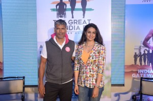 Promoter of running in India, Milind Soman & MobieFit Co-Founder and actress, Gul Panag announce The Great India Run