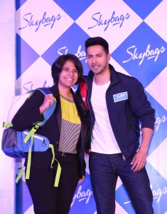 Radhika Piramal, Managing Director, V.I.P Industries with Skybags Brand Ambassador Varun Dhawan at the launch of the Skybags Backpack Collection 2016