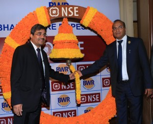 From left to right: Ringing of Ceremonial Bell at NSE listing L-R_Mr D. K. Surana -M Managing Director, Intensive Fiscal Services Private Ltd & Mr. M L Mittal- Managing Director, Bharat Wire Ropes Limited