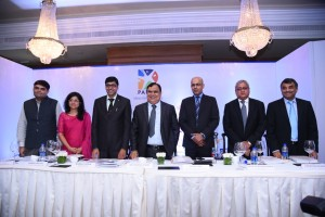 L to R: Mr. Shirish Upadhyay (Sr VP-Planning, Parag Milk Foods Limited), Ms. Cheryl Netto (JM Financial Institutional Securities Limited), Mr.Bharat Kedia (CFO, Parag Milk Foods Limited), Mr. Devendra Shah (Executive Chairman, Parag Milk Foods Limited), Samik Ray (Kotak Mahindra Capital Company Limited), Mr. Venkatraghavan S. (IDFC Securities Limited) and Girish Nadkarni (Motilal Oswal Investment Advisors Private Limited) at the press IPO conference of Parag Milk Foods Limited