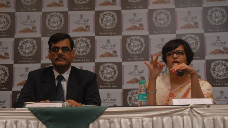 Mr. Om Vijay Choudhary, Executive Director, Madhya Pradesh Tourism along with Ms. Tanvi Sundriyal, AMD, Madhya Pradesh Tourism while interacting with media at the press conference