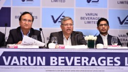 Mumbai :  L to R  - Raj Gandhi ,Director, Varun Beverages Ltd  - Ravi Jaipuria ,Chairman, Varun Beverages Ltd  - Varun Jaipuria ,Director, Varun Beverages Ltd