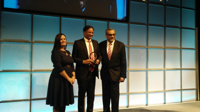 Mr Ajay Singh, Chairman and Managing Director of SpiceJet receiving the World Travel Leaders award from Trav Talk India Publisher and Director - Mr Sanjeet.- Photo by GPN Network