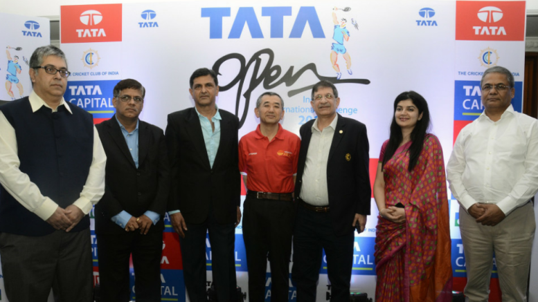 MUMBAI, (GPN): L – R:  Sachin Bajaj, Vice Chairman Badminton Sub-Committee, Member Executive Committee, Cricket Club of India, Suprakash Mukhopadhyay, Chairman, Tata Sports Club, Prakash Padukone, Founder and Director, Prakash Padukone Badminton Academy, Tomoharu Sano, Referee for Tata Open India International Challenge 2016, Kekoo Nicholson, President, Cricket Club of India, Ms. Veetika Deoras, Vice President – Brand Marketing & Corporate Communication, Tata Capital and Arun Lakhani, President, Maharashtra Badminton Association at a press conference in Mumbai today to announce the commencement of Tata Open India International Challenge 2016, at CCI, in Mumbai on Tuesday - Photo by Sachin Murdeshwar GPN Network