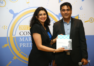 Mumbai (GPN), L to R : Virginia Sharma -Director of LinkedIn Marketing Solutions India and President of the DMAi Content Marketing with Vatsal Asher - Founder DMAAsia & MENA & DMAindia's Content Marketing Council unveiling the Report-Photo By Sachin Murdeshwar - GPN Network
