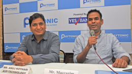 "Mumbai (GPN) : 'PAYTONIC' offers  unique  cashless solution to local vendors even without smartphones. During ""PAYTONIC"" launch function  held in Mumbai on 7th December 2016, Mr.Maccarim, Founder & CEO is seen  addressing the gathering (extreme right). Also seen, Mr. Anuj Kothari,  AVP-Technology, on extreme  left.- photo by  Jagrut Bhanushali GPN NETWORK."