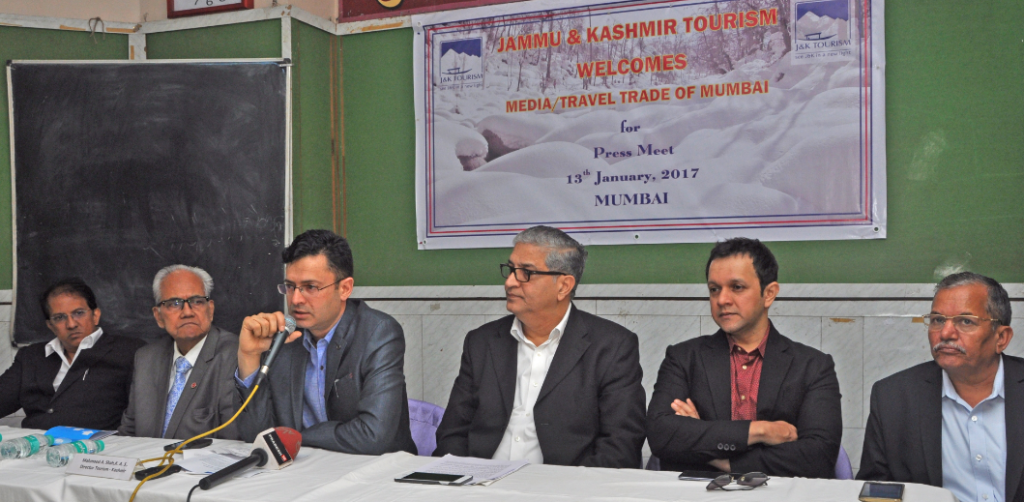 Mr. Mahmood A. Shah, Director of Tourism-Kashmir  arranged a press meet in Mumbai on 13th January 2017  for a briefing on Kashmir Tourism as well as up -gradation in infrastructure  of Kashmir Tourism Industry. The leading Tour Operators from Mumbai attended the event. Seen from left, Mr. AbhijitPatil of Raja Rani Travels, Mr. KesariPatil of Kesari Tours, Mr. Mmahmood A. Shah, Director of Tourism –Kashmir, Mr. SudhirPatil, President-Maharashtra Tour Organizers Association, Mr. Imran Khan-Bollywood & TV star and Mr. Prabhubhai Joshi of Heena Travels.- Photo by Sachin Murdeshwar GPN NETWORK