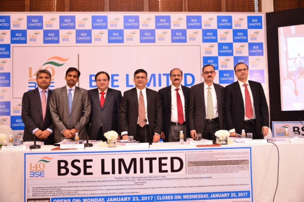 L to R: VIKAS KHATTAR (JEFFERIES INDIA PRIVATE LIMITED), VIKAS KHEMANI (EDELWEISS FINANCIAL SERVICES LIMITED), NAYAN MEHTA (CHIEF FINANCIAL OFFICER, BSE LIMITED), ASHISHKUMAR CHAUHAN (MANAGING DIRECTOR & CHIEF EXECUTIVE OFFICER, BSE LIMITED),  NEERAJ KULSHRESTHA (CHIEF OF BUSINESS OPERATIONS, BSE LIMITED), SALIL PITALE (AXIS CAPITAL LIMITED) and UTPAL OZA (NOMURA FINANCIAL ADVISORY AND SECURITIES (INDIA) PRIVATE LIMITED) at the IPO press conference- Photo by Sachin Murdeshwar GPN NETWORK