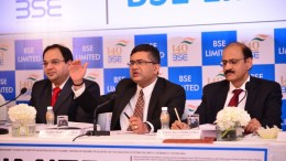 NAYAN MEHTA (CHIEF FINANCIAL OFFICER, BSE LIMITED), ASHISHKUMAR CHAUHAN (MANAGING DIRECTOR & CHIEF EXECUTIVE OFFICER, BSE LIMITED), NEERAJ KULSHRESTHA (CHIEF OF BUSINESS OPERATIONS, BSE LIMITED) at the IPO press conference - Photo By Sachin Murdeshwar GPN NETWORK