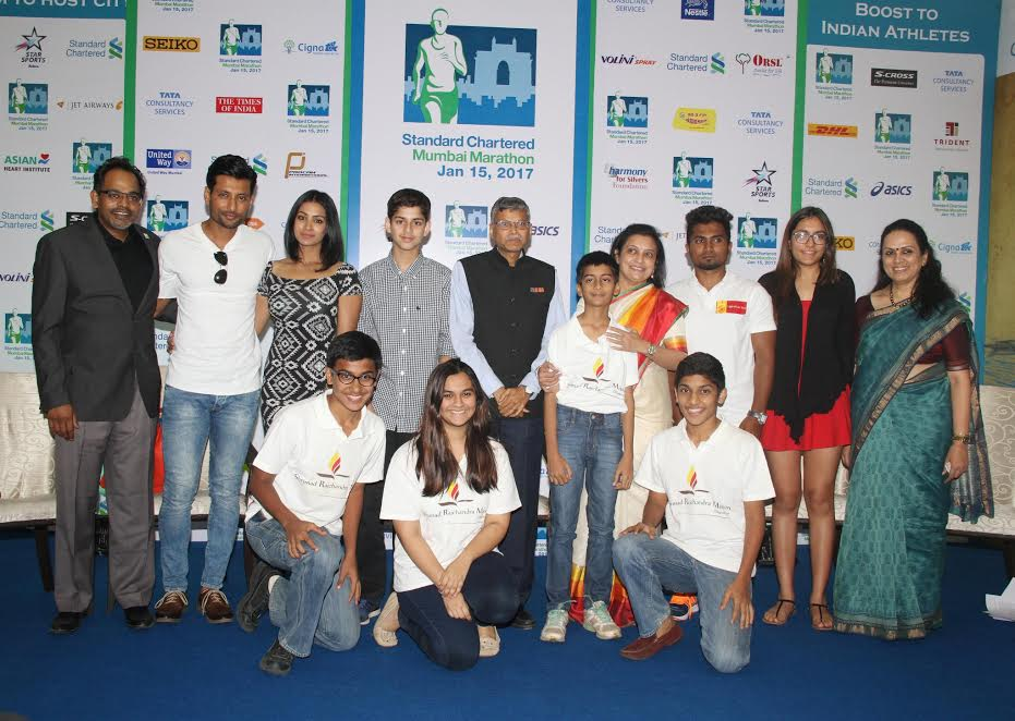 At the SCMM 2017 Charity Meet & Greet at the event Media Center on Wednesday, with dignitaries Indian film and television actors, Indraneil Sengupta and Barkha Senguptaf from Ra Foundation, Dr. Bijal Mehta, Shrimad Rajchandra Love & Care, Sadashiv Rao, Isha Vidhya, Malini Kohli, Think Foundation, Rupesh Chandrakant Pandhekar, Light of Life Trust, Arav Hak (12 Years Old), Nargis Dutt Memorial Charitable Trust and Jayanti Shukla, Executive Director, United Way of Mumbai.- Photo by Sachin Murdeshwar GPN NETWORK