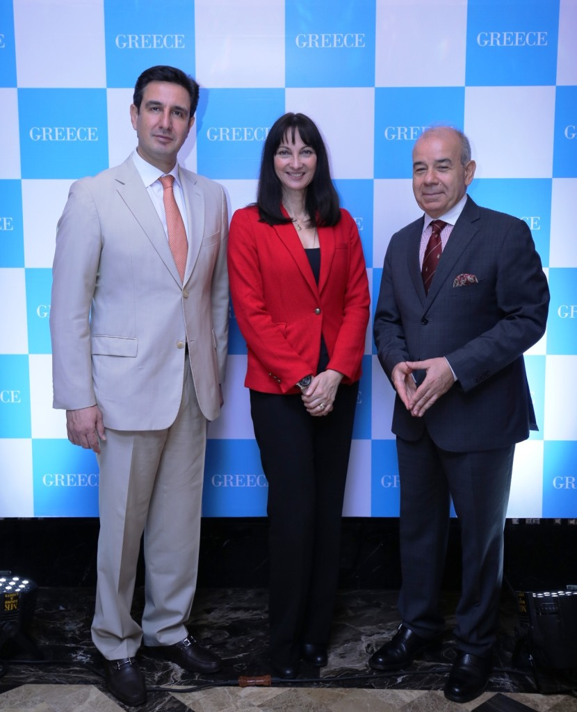 L - R Mr. Dimitrios Tryfonopoulos, Secretary General, GNTO. Ms. Elena Kountoura, Honourable Minister of Tourism Greece & Mr.Panos Kalogeropoulos Ambassador of Greece-Photo By Sachin Murdeshwar GPN NETWORK.