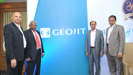 Geojit Financial Services Executive Director Mr. Satish Menon, Chairman Mr A P Kurian, Founder and Managing Director Mr C J George, and Managing Director of Geojit Technologies Ltd Mr A Balakrishnan, after unveiling the new logo of Geojit, in Mumbai on Wednesday (February 8, 2017).- Photo By Sachin Murdeshwar GPN NETWORK.