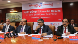 Seen in the photograph is Shri Arun Tiwari, Chairman and Managing Director,Union Bank Of India,flanked by  Shri V.K Kathuria, Shri R.K.Verma & Shri A.K.Goel Executive Directors, Union Bank Of India at  the press conference held in Mumbai on the occasion of announcement of Financial Results for Q-3/Nine months ended December 31, 2016 . - Photo By Sachin Murdeshwar GPN NETWORK.