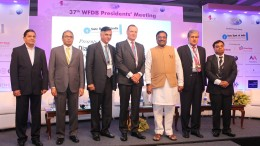 In Photo Mr. Kirit Bhansali (Co-Convener IIGA 2016 Committee, GJEPC), Mr. Russell Mehta (VC, GJEPC), Mr. Praveenshankar Pandya (Chairman, GJEPC), Ernest Blom (WFDB President), Mr. Sudhir Mungantiwar (Hon. Finance Minister, Maharashtra State), Mr. Anoop Mehta (Chairperson, Bharat Diamond Bourse) and Mr. Manoj Dwivedi (Jt. Secretary, Union Ministry of Commerce, Government of India) at the Diamond Financing 2017 Conference - Photo By Sachin Murdeshwar GPN NETWORK