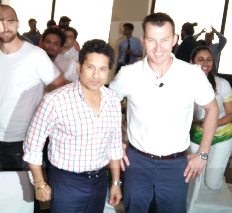 Sachin Tendulkar with Brett Lee during the Launch of Bowling Master in partnership with Amazon.in for its India foray at The Trident Hotel in Mumbai - Photo By Sachin Murdeshwar GPN NETWORK