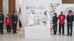 His Excellency Mohamad Mubarak Al Mazrouei, Chairman of the Etihad Aviation Group board (left) and His Excellency Mohamad Abdulla Al Junaibi, Chairman of the Higher Committee of the Special Olympics World Summer Games, sign a Memorandum of Understanding as Etihad Airways is announced as the official airline partner of the 2019 Special Olympics World Summer Games-Photo By Sachin Murdeshwar GPN NETWORK.