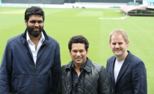 Producer Ravi Bhagchandka, Sachin Tendulkar and Director James Erskine at The Kia Oval during the promotions of the movie Sachin A Billion Dreams - Photo By Sachin Murdeshwar GPN NETWORK.