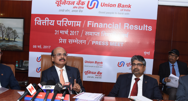 Seen in the photograph is Shri Arun Tiwari, Chairman and Managing Director,Union Bank Of India,flanked by  Shri V.K Kathuria, Shri R.K.Verma & Shri A.K.Goel Executive Directors, Union Bank Of India at  the press conference held in Mumbai on the occasion of  announcement of Financial Results for the quarter/Year ended March 31, 2017 - Photo By Sachin Murdeshwar GPN NETWORK