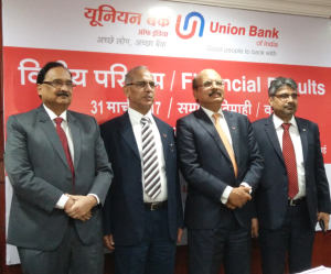 Shri Arun Tiwari, Chairman and Managing Director,Union Bank Of India 3rd from left ,flanked by Shri V.K Kathuria, Shri R.K.Verma & Shri A.K.Goel Executive Directors, Union Bank Of India at the press conference held in Mumbai on the occasion of announcement of Financial Results for the quarter/Year ended March 31, 2017 - Photo By Sachin Murdeshwar GPN NETWORK.