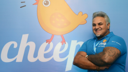 Dr. Diwan Rahul Nanda with the Cheep backdrop at the launch of an On Demand Home Services marketplace app called CHEEP, in Mumbai, Delhi and Bengaluru – Photo By Sachin Murdeshwar GPN NETWORK.