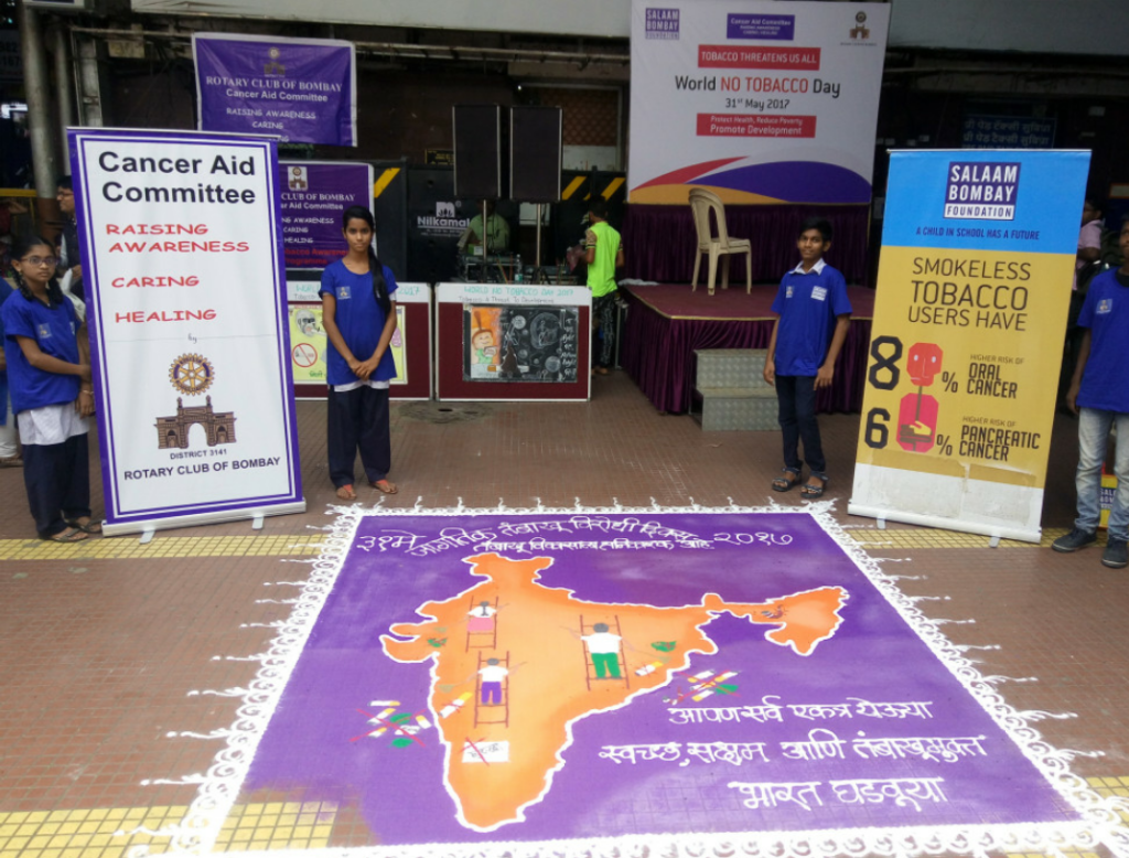 "During ""World No Tobacco Day"", Children of NGO Salaam Bombay Foundation create awareness against tobacco at iconic CST in Mumbai - Photo By Sachin Murdeshwar GPN NETWORK."