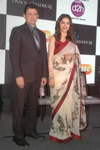 Actress Madhuri Dixit, her husband Shriram Nene at Videocon d2h during launch of d2h Nachle, by Videocon d2h in Mumbai – Photo By Sachin Murdeshwar GPN NETWORK.