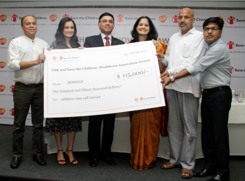 L to R: Thomas Chandy CEO Save the Children, Dia Mirza, A Vaidheesh VP South Asia & MD GSK presenting the cheque to Dr Aparna Hegde Founder Armman on winning the Health Innovation Award organised by GSK in Mumbai – Photo By Sachin Murdeshwar GPN NETWORK