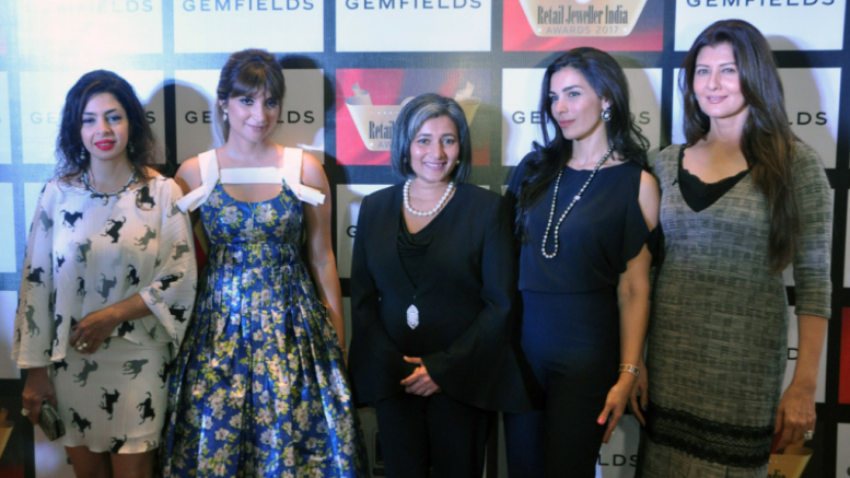 L-R – Nawaz Modi Singhania, Michelle Poonawalla, Schauna Chauhan Saluja (CEO, Parle Agro Pvt. Ltd.) and Sangeeta Bijlani (Actor, Businesswoman and Former Miss India) at the Grand Jury Meet of The 13thAnnual Gemfields Retail Jeweller India Awards 2017 i Mumbai – Photo By Sachin Murdeshwar GPN NETWORK