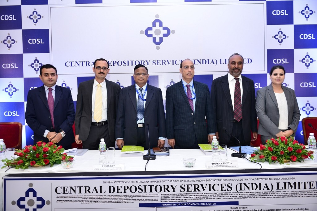 L-R:Utpal Oza (Nomura Financial Advisory And Securities (India) Private Limited), Salil Pitale (Axis Capital Limited), P S Reddy [Managing Director and Chief Executive Officer, Central Depository Services (India) Limited], Bharat Sheth [Chief Financial Officer, Central Depository Services (India) Limited], Narayanan Sadanandan (SBI Capital Markets Limited) and Dipti Samant (Edelweiss Financial Services Limited) at the CDSL IPO press conference.- Photo By Sachin Murdeshwar GPN NETWORK