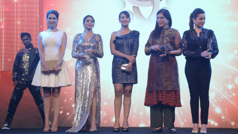 Bollywood Divas Kim Sharma, Shillpi Sharma, Preeti Jhangiani, Zeenat Aman and Neelam Kothari at the National Jewellery Awards (NJA) 2017. They were also the jury for the awards in this year's edition of awards. All India Gems and Jewellery Trade Federation (GJF) organises this event every year to acknowledge the talent in the industry. This year was the 7th edition of the awards and 25 awards were given for 5 different categories - Photo By Sachin Murdeshwar GPN NETWORK