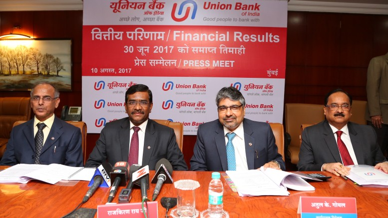 Seen in the photograph is Shri Rajkiran Rai G, Managing Director & CEO,Union Bank Of India,flanked by  Shri V.K Kathuria, Shri R.K.Verma & Shri A.K.Goel Executive Directors, Union Bank Of India at  the press conference held in Mumbai on the occasion of  announcement of Q-1 Financial Results for the quarter ended June 30, 2017 - Photo By Sachin Murdeshwar GPN NETWORK