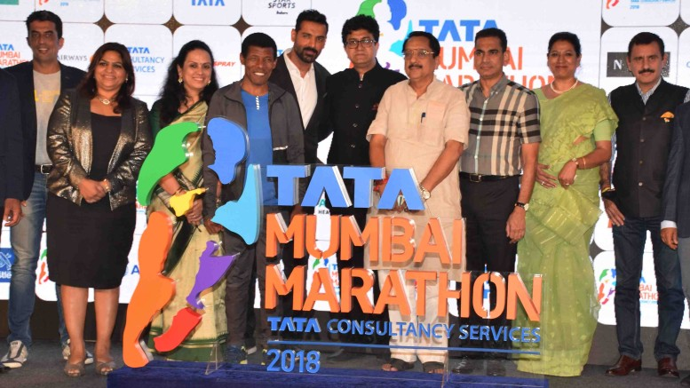Mumbai Aug. 01 :- Procam International, pioneers of the distance running movement in India, today announced that the iconic Mumbai Marathon in now the TATA Mumbai Marathon 15th edition of asia's prestigious marathon launches with new sponsor & logo. New race category introduced on popular demand - time 10K run Race Day on 21st January 2018, Registration now open. In pic Distance running legend Hile Gebrselassie & Brand Ambassador John Abraham & others. ( Pic By Sachin Murdeshwar GPN NETWORK )