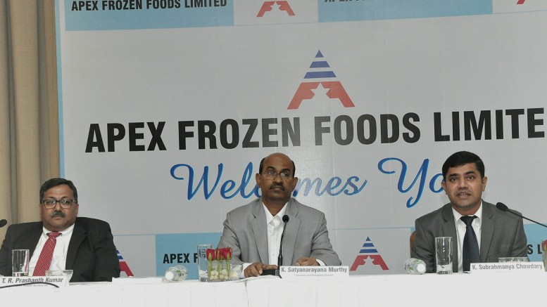 L to R- T. R. Prashant Kumar(Karvy Investment services), K. Satyanarayana Murthy (Managing Director), K. Subrahmanya Chowdary (Executive Director), Apex Frozen Foods IPO Press Conference- Photo By Sachin Murdeshwar GPN NETWORK