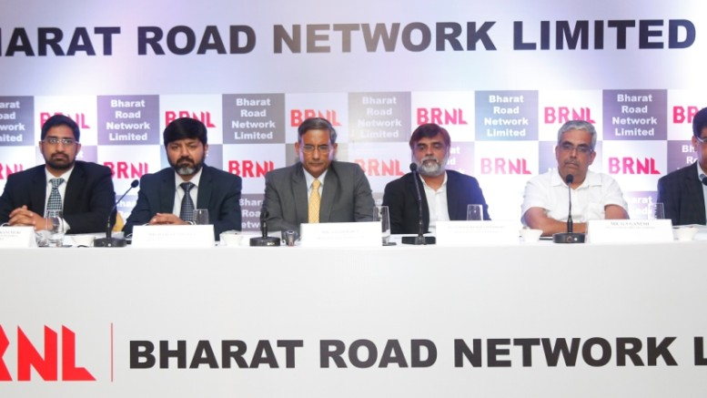 (L-R): Mr. Ram Bhushan,  Investec Captal Services, Mr. Rajesh Sirohia, Cheif Strategy Officer, Bharat Road Network Limited, Mr. Brahm Dutt, Chairman, Bharat Road Network Limited , MR. Bajrang Chaudhary, MD, Bharat Road Network Limited, Mr. G.S. Ganesh, Inga Capital Limited, Mr. Ashok Pareek, SREI Capital Markets Limited - Photo By Sachin Murdeshwar GPN NETWORK