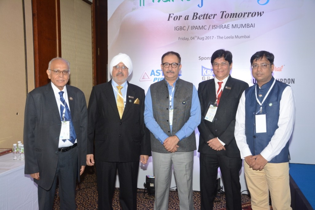 Inaugural Ceremony HARIT JAL VAYU 2017 Mr. V.Suresh, President, Good Governance India Foundation, and Chairman, IGBC Policy and Advocacy ,Mr. Gurmit Singh, National President, IPA, Co - Chairman, IGBC Mumbai Chapter & Executive Board Member, IGBC , Mr. Vishal Kapur, National President, ISHRAE Mr. Sharat Rao, Chairman, Indian Plumbing Association, Mr. Ajaj Kazi, President ISHRAE Mumbai Chapter - By Sachin Murdeshwar GPN NETWORK