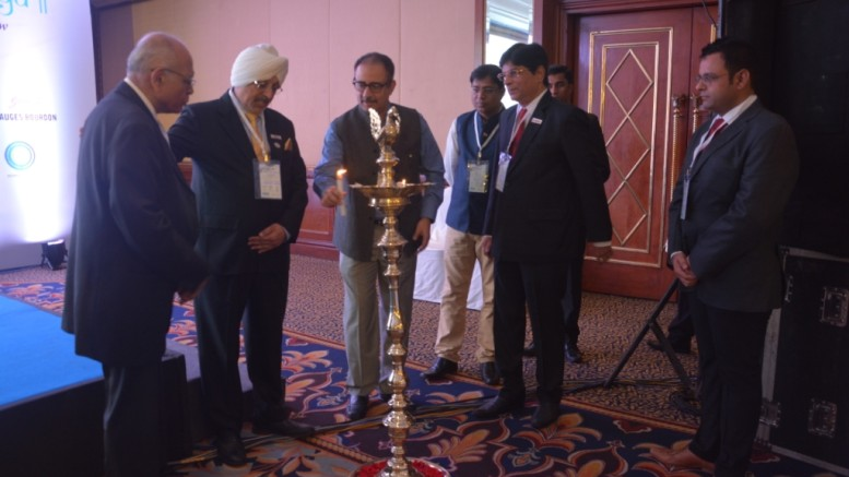 Lamp Lighting Ceremony HARIT JAL VAYU 2017 : Mr. V.Suresh, President, Good Governance India Foundation, and Chairman, IGBC Policy and Advocacy |Mr. Gurmit Singh, National President, IPA, Co - Chairman, IGBC Mumbai Chapter & Executive Board Member, IGBC |Mr. Vishal Kapur, National President, ISHRAE |Mr. Ajaj Kazi, President ISHRAE Mumbai Chapter | Mr. Sharat Rao, Chairman, Indian Plumbing Association - Photo By Sachin Murdeshwar GPN NETWORK