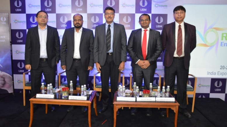(Left to Right):  Mr. Ritesh Pothan, SVP Business Development, Chroma Energy  Mr. Mukund Shendge, Head of Sales, Fronius India Private Limited  Mr. Yogesh Mudras, Managing Director, UBM India  Mr. Pujan Doshi, WARREE  Mr. Rajneesh Khattar, Group Director, UBM India - Photo By Sachin Murdeshwar GPN NETWORK