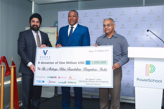 L-R : Hardeep Gulati, CEO of PowerSchool, Robert F. Smith, Founder, Chairman and CEO of Vista Equity Partners and  Shridhar Venkat, CEO of The Akshaya Patra Foundation - Photo By Sachin Murdeshwar GPN NETWORK