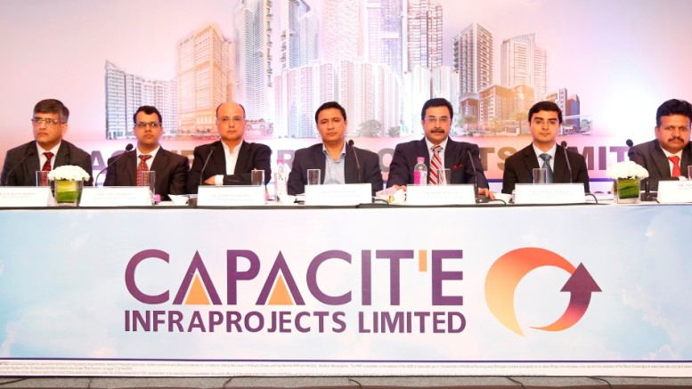 (L to R):: Mr. Gaurang Mehta, Axis Capital Limited; Mr. Amit Porwal, Advisor To The Issue; Mr. Subir Malhotra, Promoter & ED, Capacit'e Infraprojects Limited; Mr. Rahul Katyal, Promoter & Managing Director, Capacit'e Infraprojects Limited; Mr. Rohit Katyal, Promoter & Executive Director, Capacit'e Infraprojects Limited; Mr. Vivek Vaishnav, Vivro Financial Services Limited; Mr. Nipun Goel, IIFL Holdings Limited - Photo By Sachin Murdeshwar GPN NETWORK