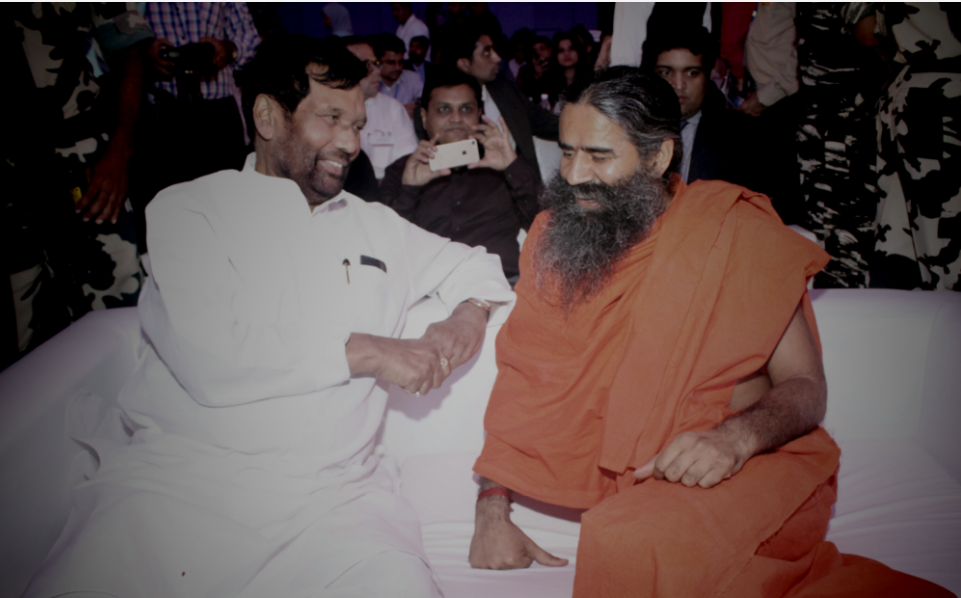 Ram Vilas Paswan Minister for Consumer Affairs, Food and Public Distribution With Baba Ramdev during 21st Anniversary of Globoil India 2017 held in Mumbai during 13th, 14th & 15th - September 2017 at Renaissance Mumbai Convention Centre Hotel, Powai.- Photo By Sachin Murdeshwar GPN NETWORK
