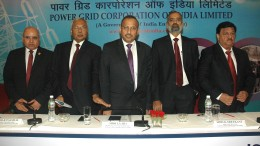 (L-R) Shri Anil Jain, Executive Director, Corporate Planning, Power grid Corp. of India Ltd. Shri R.P. Sasmal, Director, Operations, Power grid Corp. of India Ltd., Shri I.S. Jha ,Chairman & Managing Director, Power grid Corp. of India Ltd., Shri K. Sreekant, Director, Finance, Power grid Corp. of India Ltd., Shri. Prabhakar Singh, Director, Projects, Power grid Corp. of India Ltd. the Power Grid Q2 Results Press Conference in Mumbai held today - Photo By Sachin Murdeshwar GPN NETWORK