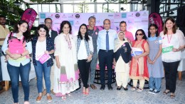 Pinkathon founder Milind Soman formally announced the launch of the Sixth Edition of COLORS Pinkathon Mumbai 2017 to be held on December 17, 2017 at MMRDA Grounds, BKC at a press conference held in Mumbai.   Present at the conference were eminent dignitaries like Raj Nayak, COO, Viacom 18, Reema Sanghavi (Co-Founder Pinkathon & MD - Maximus Mice & Media Solutions Pvt Ltd), Actress, Comedian and Writer Mallika Dua, Sagar Boke, Head - Marketing, Consumer Products Business, Tata Chemicals, Devieka Bhojwani (Vice President – WCI), Dr. Shishir Shetty (Apollo Hospitals) and 101-year-old Mann Kaur, an Indian track – and – field athlete, she holds the world record in the over 100 years old categories along with three COLORS Pinkathon mascots who expressed their wholehearted support for the noble cause. Committed to encourage progress of women and move forward in life, India's leading entertainment channel, COLORS has extended full partnership towards this cause by partaking in spreading the message of 'wellbeing of women' through this initiative.- Photo By Sachin Murdeshwar GPN NETWORK