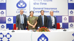 Left to Right: V C Jain – CFO & GM, Alice G Vaidyan – CMD, D R Waghela – GM and B N Narasimhan – GM, of General Insurance Corporation (GIC) Re. at a press conference in Mumbai to announced its financial performance for the half year ended September 30, 2017 - Photo By Sachin Murdeshwar GPN NETWORK