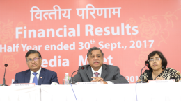 Shri P S Jayakumar (MD & CEO) center, Shri Ashok Kumar Garg (Executive Director) left and Smt. Papia Sengupta, (Executive Director) right, during the Media Meet for declaration of Financial Results for Q2 FY 17-18 at Baroda Corporate Centre Mumbai. - Photo  By Sachin Murdeshwar GPN NETWORK