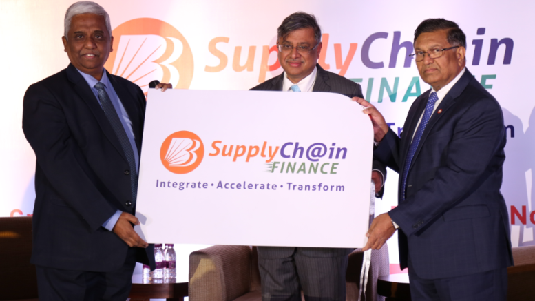 L to R- Shri. Mayank Mehta (Executive Director), Shri. PS Jayakumar (MD and CEO) and Shri. Ashok Kumar Garg (Executive Director) at the launch of Baroda Supply Chain Finance. This state-of-the-art digitized product is designed to ensure faster approvals, seamless transaction processing and availability of finance to the large corporate and SME customers.- Photo By Sachin Murdeshwar GPN / 27.11.17